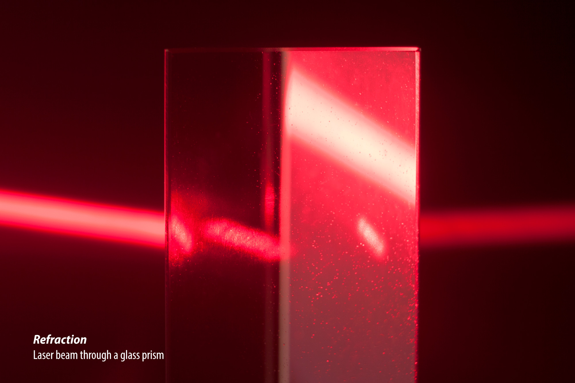 Laser beam through a glass prism