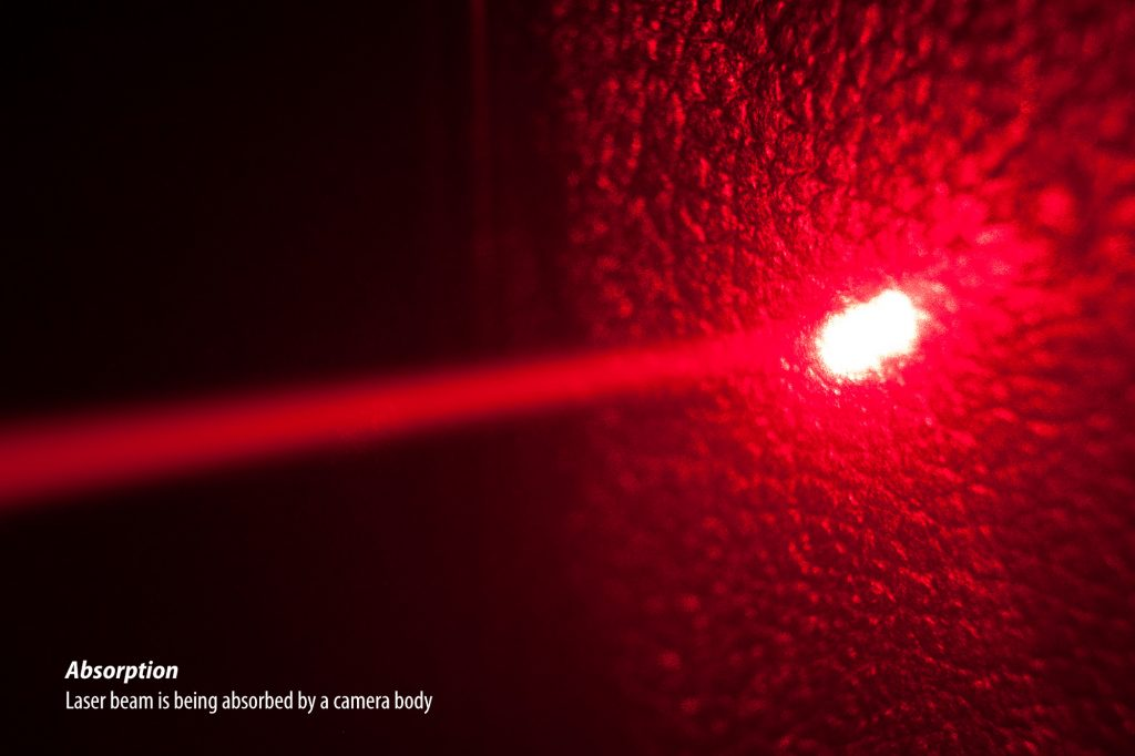 Laser beam is being absorbed by a camera body