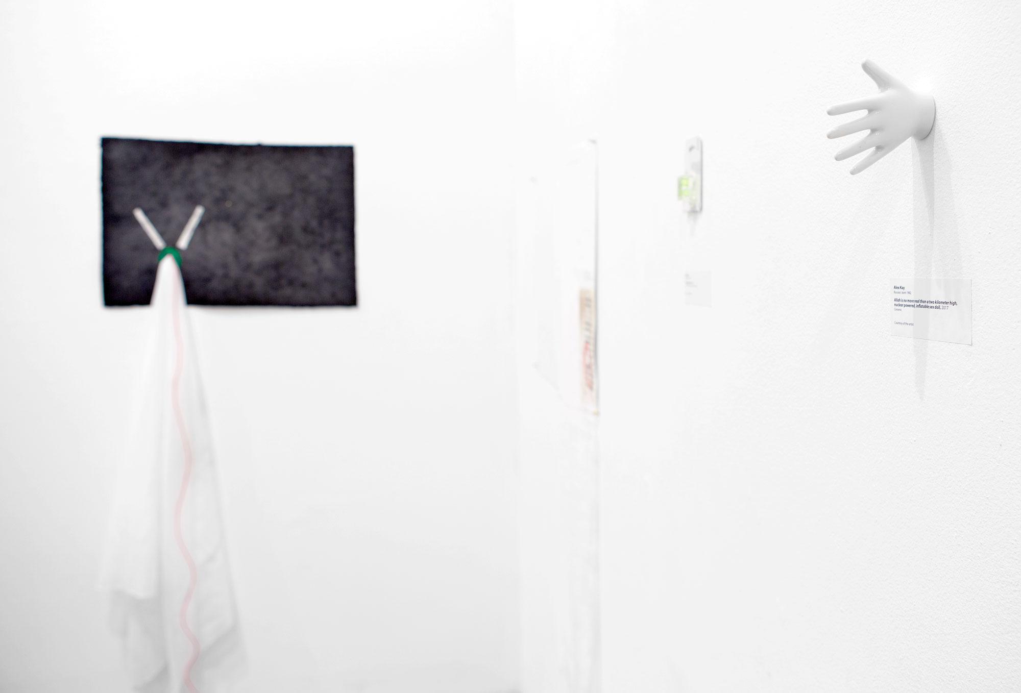 Meshki: Royal Black, Potato Sacks, i.e., Meaningmization, Exhibition View #3 by Alex Kay